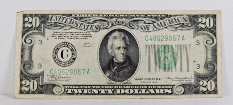 Series 1934 $20 Federal reserve Note*Philadelphia, Pennsylvania*Circulated but Crisp Paper