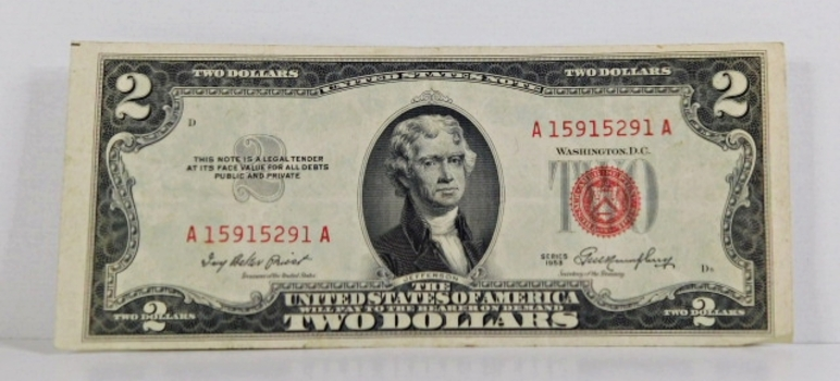Series 1953 $2 Unites States Red Seal Note*Circulated but Crisp Paper