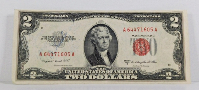 Series 1953B $2 Unites States Red Seal Note*Circulated but Crisp Paper