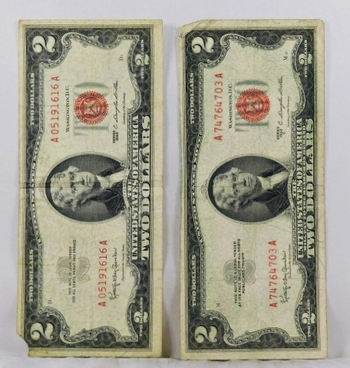 Series 1953C and 1963 $2 Red Seal United States Notes*Circulated