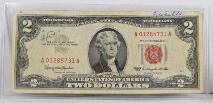 Series 1963 $2 United States Red Seal Note*Crisp Paper