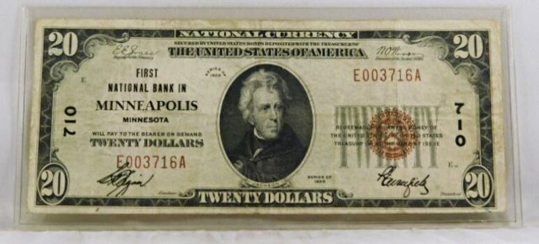 Series of 1929 First Nat'l Bank of Minneapolis, Minnesota $20 National Currency Note*Crisp Paper