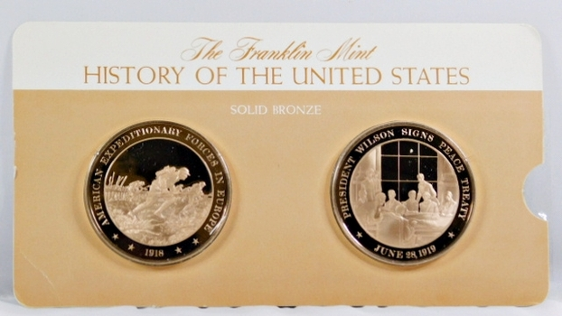 Solid Bronze Commemoratives - American Expeditionary Forces in Europe, 1918 & President Signs Peace Treaty, 1919