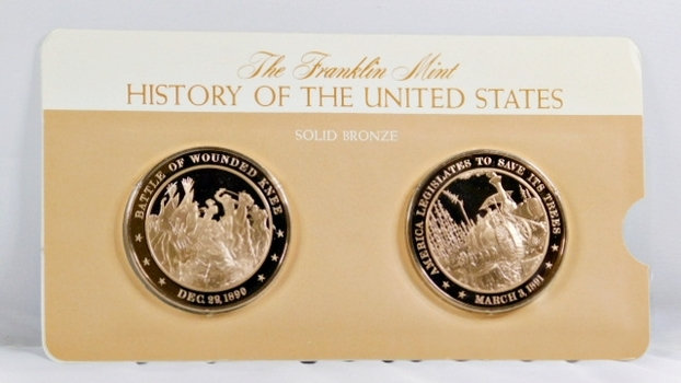 Solid Bronze Commemoratives - Battle of Wounded Knee, 1890 & America Legislated to Save It's Trees, 1891