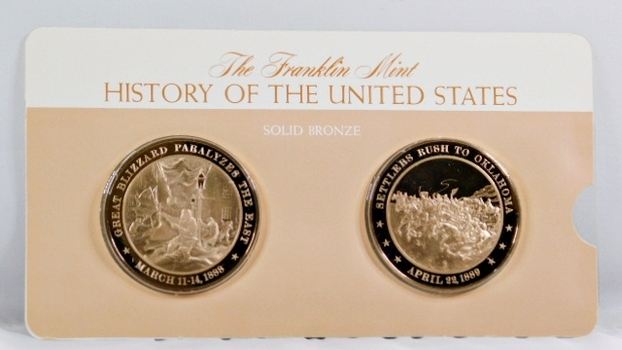 Solid Bronze Commemoratives - Great Blizzard Paralyzes the East, 1888 & Settlers Rush to Oklahoma, 1889