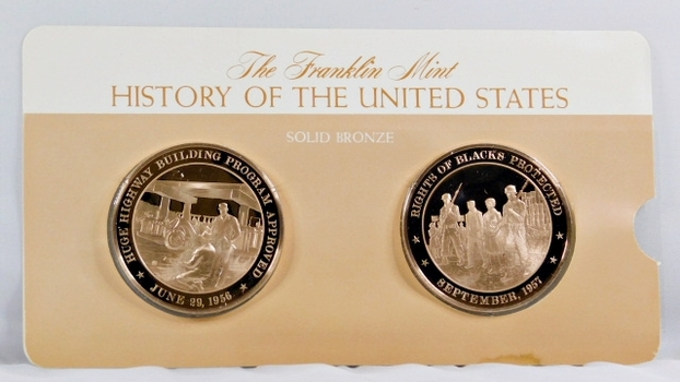 Solid Bronze Commemoratives - Huge HWY Building Program Approved, 1956 & Right of Blacks Protected, 1957