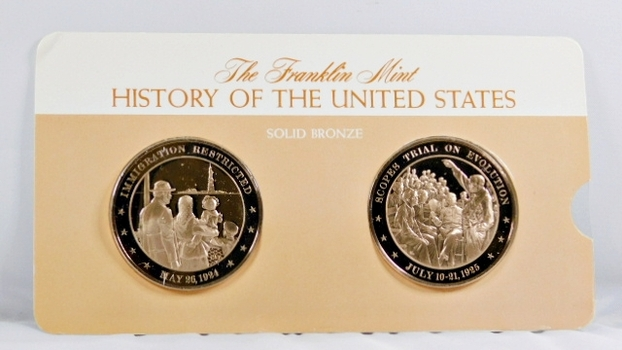 Solid Bronze Commemoratives - Immigration Restricted, 1924 & Scopes Trial on Evolution, 1925