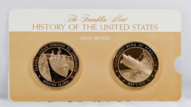 Solid Bronze Commemoratives - Panama Canal Opened to Commerce, 1914 & Lusitania Sunk by Submarine, 1915