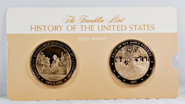 Solid Bronze Commemoratives - President Roosevelt Reelected by Landslide, 1936 & Year of Sit-Down Strikes, 1937