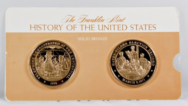 Solid Bronze Commemoratives - Telephone Demonstrated at the Centennial, 1876 & Hayes/Tilden Election Decided, 1877