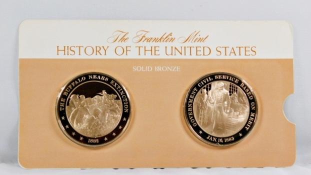 Solid Bronze Commemoratives - The Buffalo Nears Extinction, 1882 & Gov't Civil Service Based on Merit, 1883