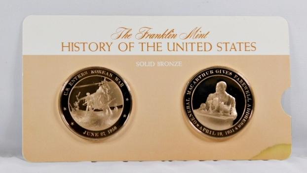 Solid Bronze Commemoratives - US Enters Korean War, 1950 & Gen. Macarthur Give Farewell Address, 1951