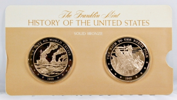 Solid Bronze Commemoratives - US Navy on World Cruise, 1908 & The Race to the North Pole, 1909