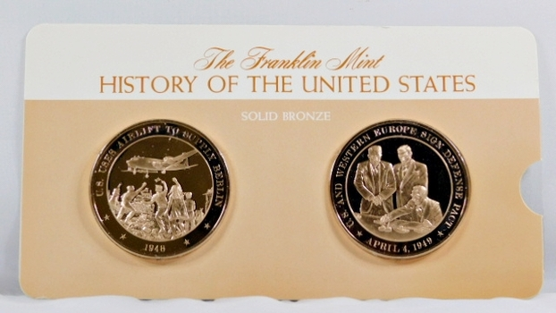 Solid Bronze Commemoratives - US Uses Airlift to Supply Berlin, 1948 and US & Western Europe Sign Defense Pact, 1949