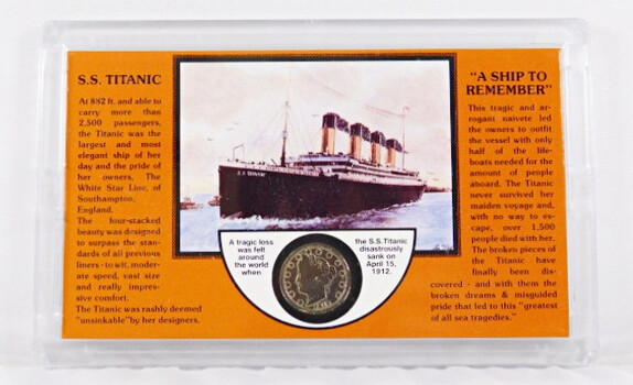 """S.S. Titanic Sinking With 1912 Liberty """"V"""" Nickel"""