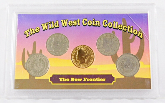 "The Wild West Coin Collection With 5 Liberty ""V"" Nickels 1901 1909 1901 1911 And Gold Plated 1906"