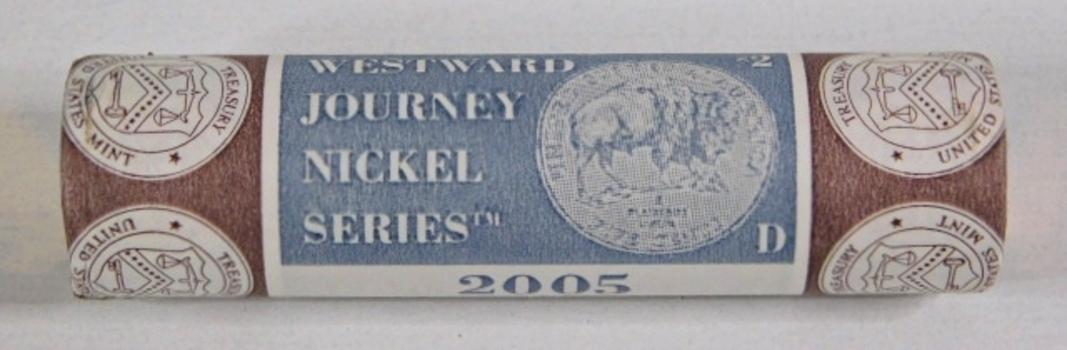 Unopened $2 US Mint Roll of 2005-D Bison Commemorative Nickels