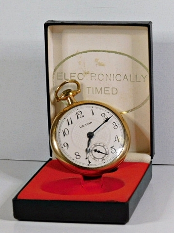 Vintage 10K Gold Filled Waltham Pocket Watch - Electronically Timed in Original Box