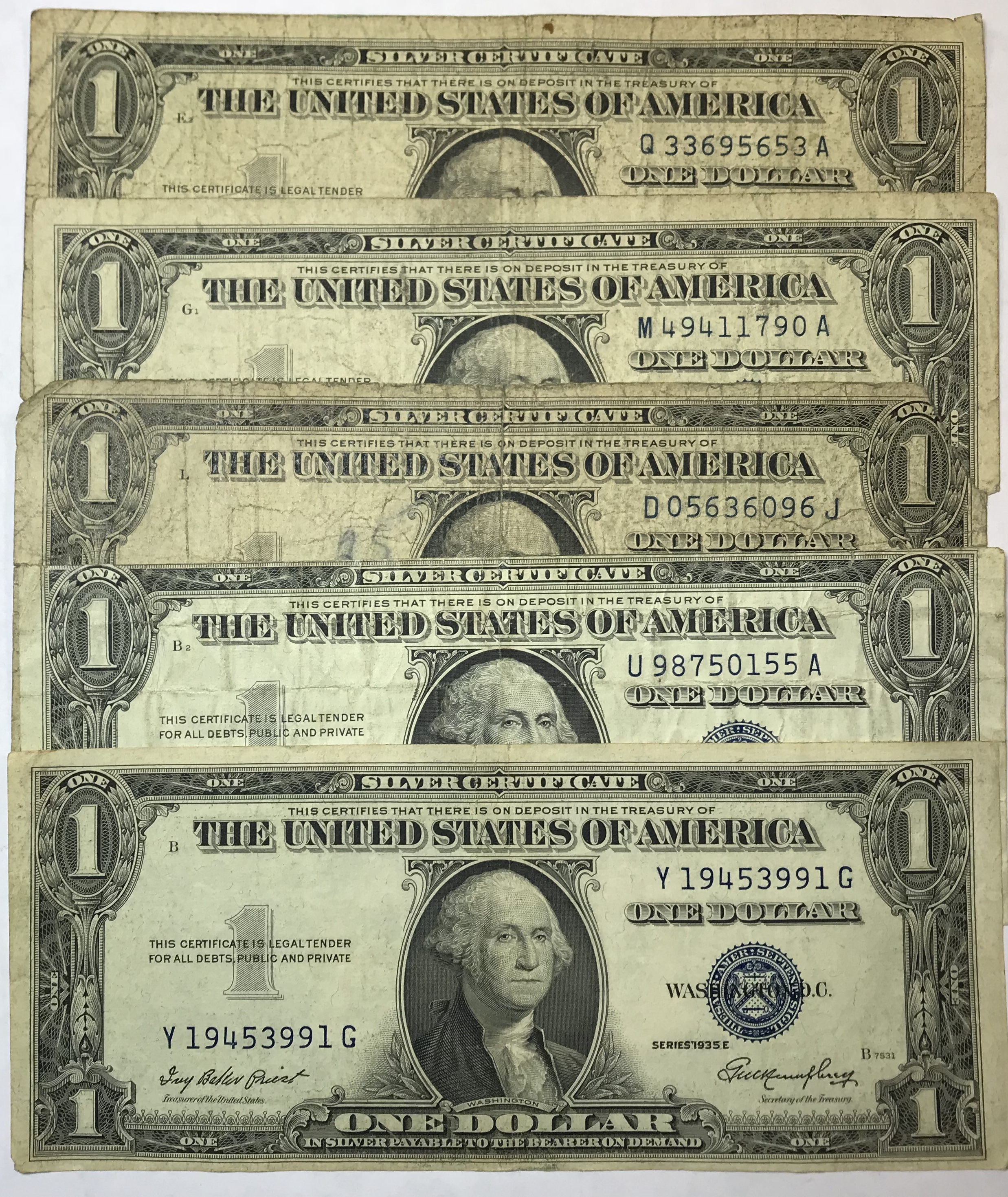 Lot Of 5 1 Silver Certificates From 1935 1957 Property Room