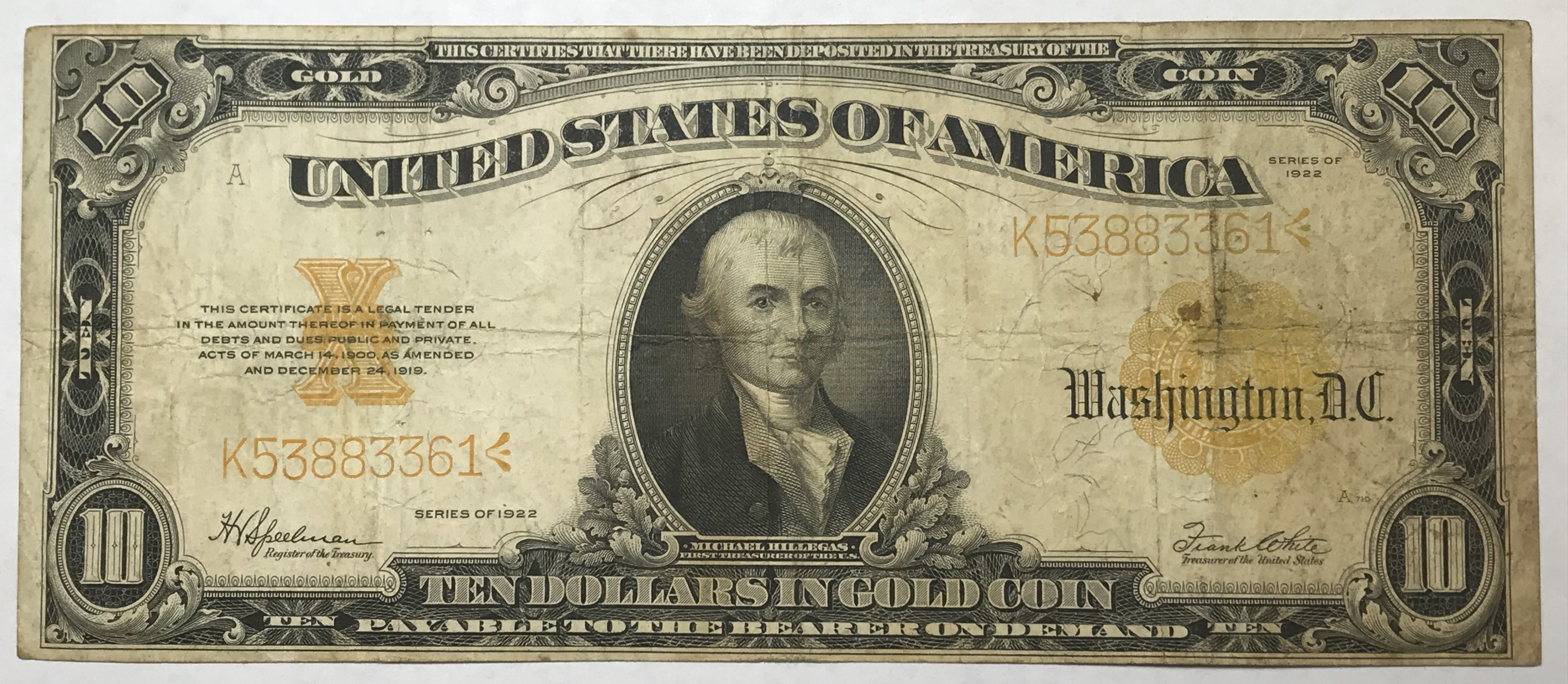 1922 10 Large Size Gold Certificate Historical Note Payable In