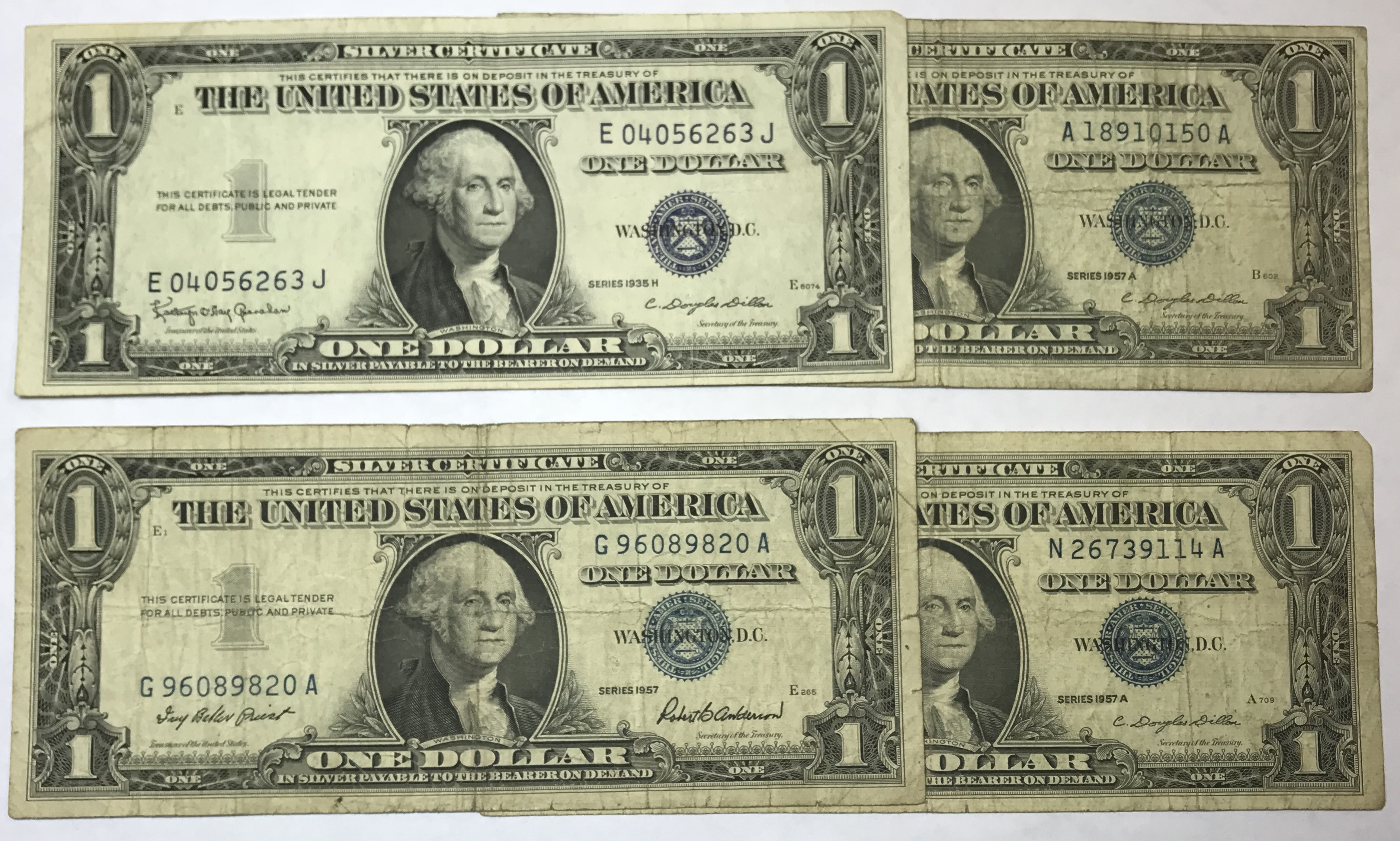 Lot Of 4 One Dollar Silver Certificates Property Room