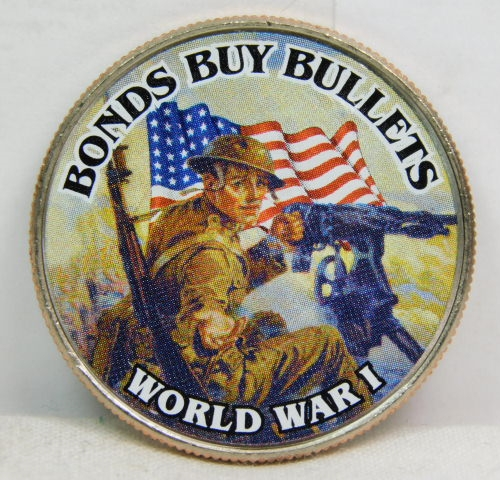 Colorized Kennedy Half Dollar - Bonds Buy Bullets - World War I