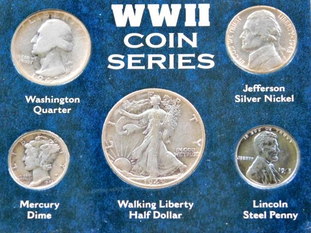 Silver Coins 1943 Walking Liberty Half Wash Quarter Mercury Dime /& War nickel 4