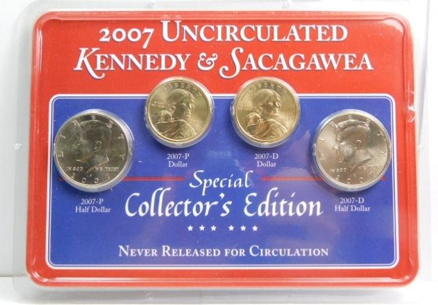 2008 P /& D SACAGAWEA TWO GOLDEN DOLLARS GEM BRILLIANT