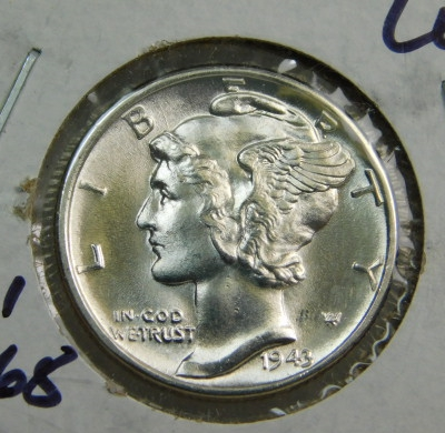1943 Gem Brilliant Uncirculated Silver Mercury Dime