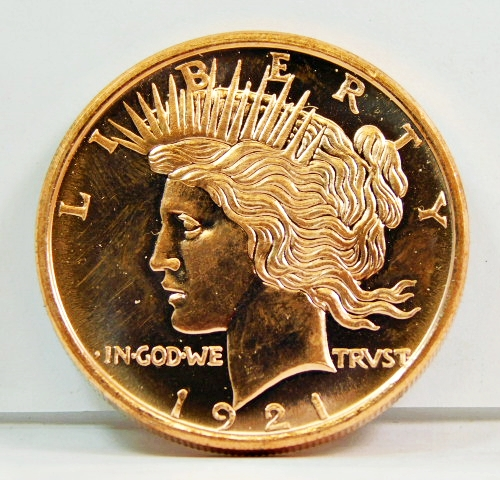 1 Ounce .999 Fine Copper Round Peace Dollar