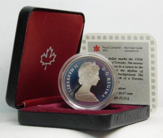 Proof 1984 Toronto Canada silver dollar in orig box w// coa