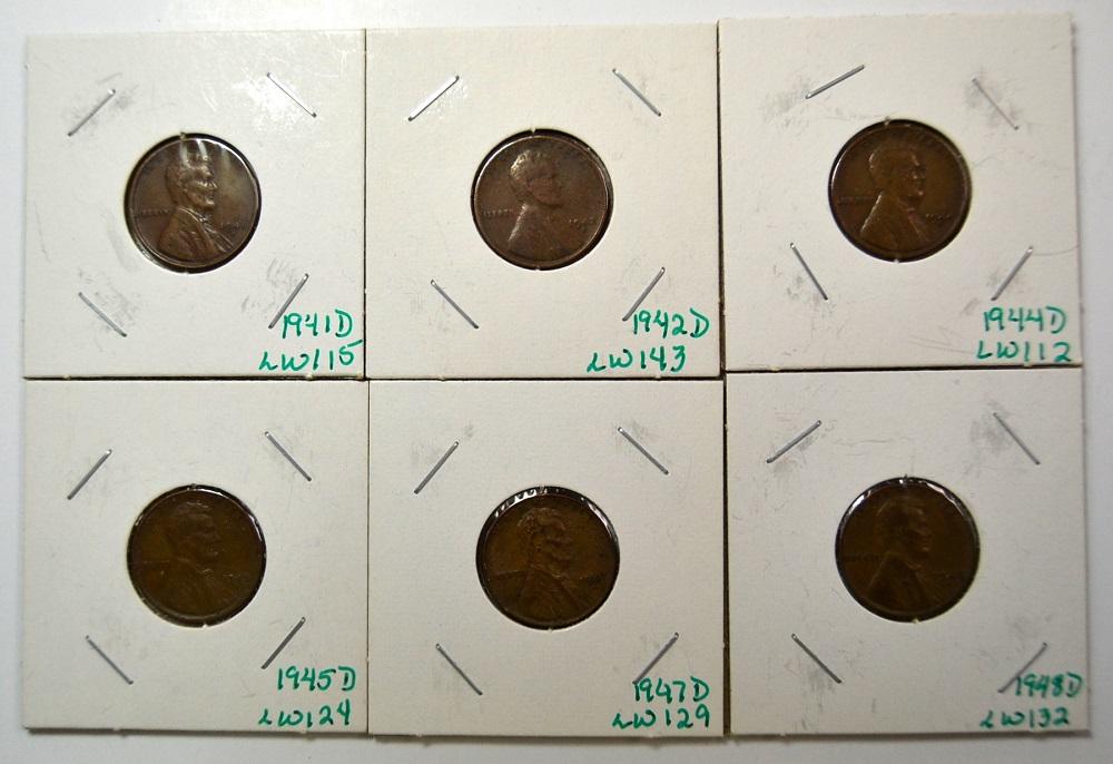 6 pennies dated 1941-D, 1942-D, 1944-D, 1945-D, 1947-D, 1948-D in