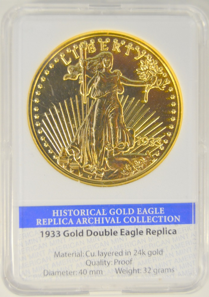 1933 Historical Gold Double Eagle Cu Round With 24kt Proof Photo