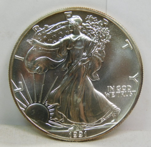 1991 $1 US American Silver Eagle UNC One Ounce FINE Silver Round Coin