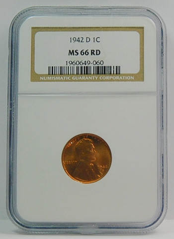 1942-D Lincoln Wheat Penny Cent 1C NGC MS 66 RD Red