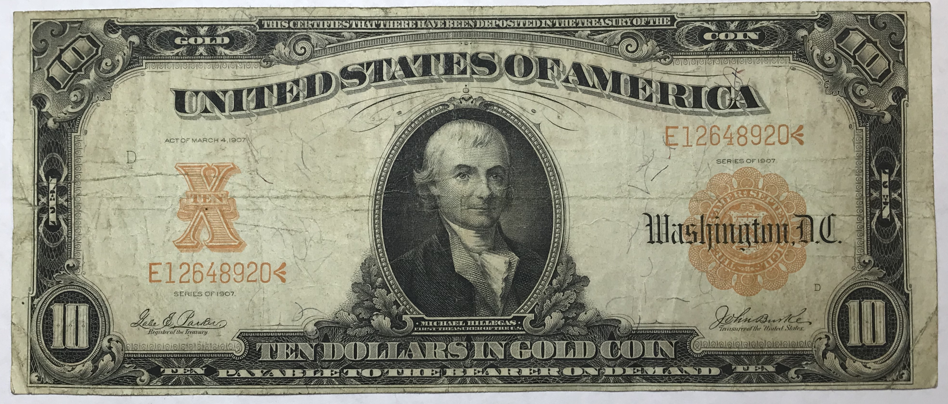 1907 10 large size gold certificate historical note payable in