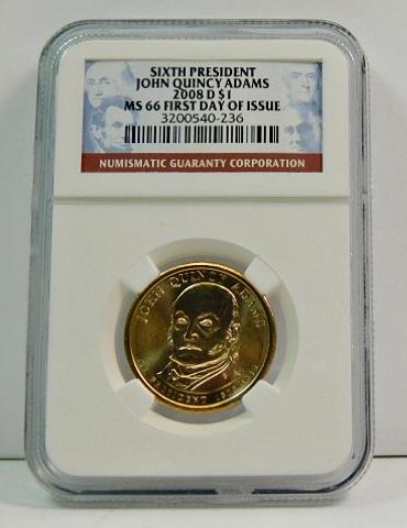 2008-D $1 John Quincy Adams Brilliant Uncirculated 6TH Presidential Dollar Coin!