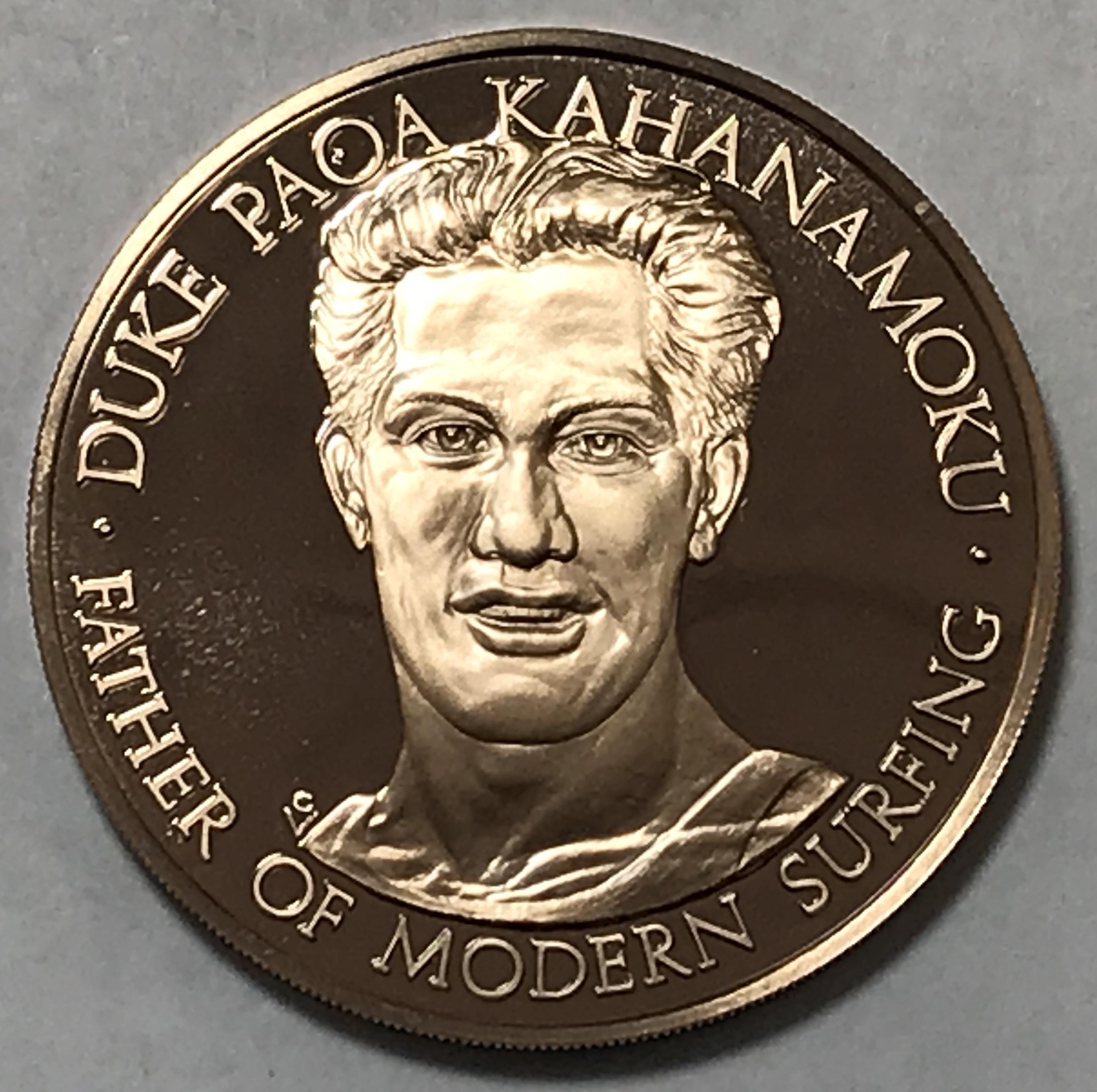 1976 Duke Paoa Kahanamoku American Surfing Association Proof Commemorative Coin Medal Property Room