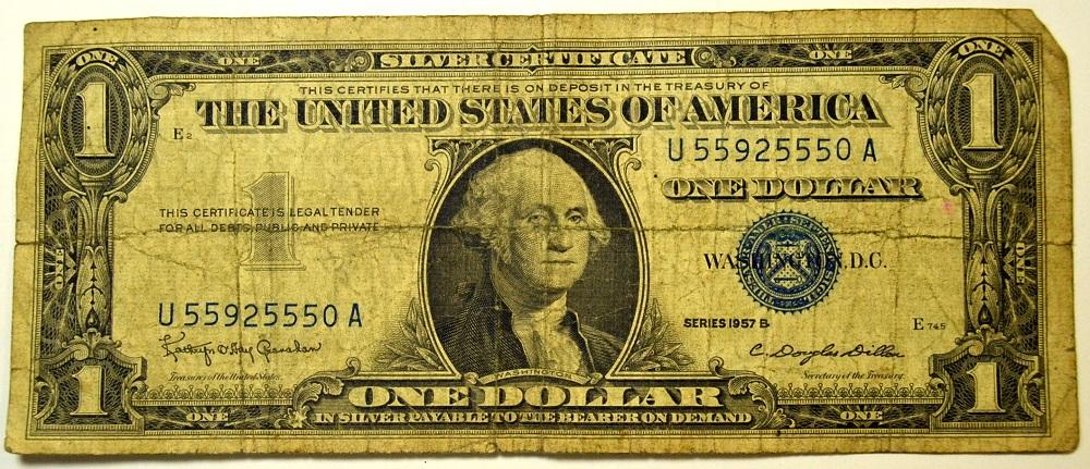 Series 1957 B One Dollar Silver Certificate SN. U55925550A ...