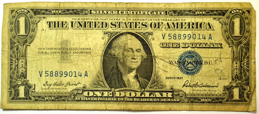 Series 1957 One Dollar Silver Certificate Sn V58899014a Property Room