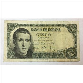 1951 Spain 5 Pesetas Bank Note