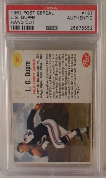 1962 Post Cereal # 137 L.G. Dupre PSA Authentic