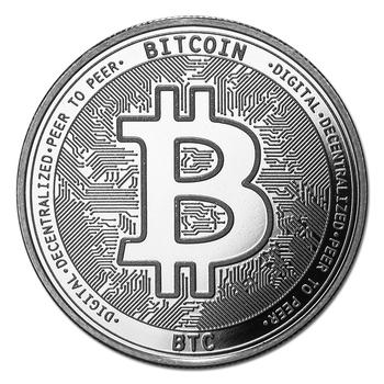Silver 1 oz Bullion Cryptocurrency Bitcoin Round .999 fine