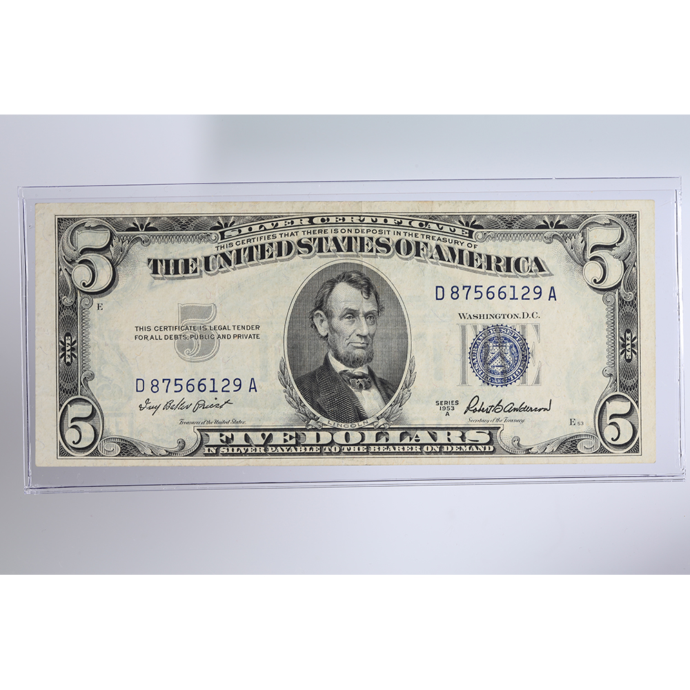 1953 5 Bill Silver Certificate Series A Property Room