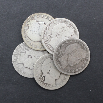 1 oz. 90% Silver Barber Quarters Varying Year & Condition