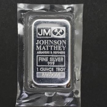 1 Troy oz 999 Fine Silver Bar JM Assayers & Refiners