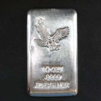 10 Troy oz. .9999 Fine Silver Eagle Bar
