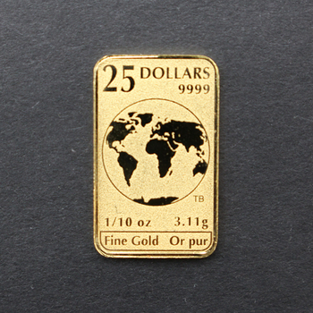 1/10 oz 9999 Fine Gold $25 Canada Bar 2019 3.11g