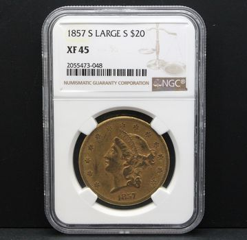 1857-S Large $20 Gold Coin NGC XF 45
