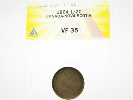 1864 1/2 Cent Canada-Nova Scotia Coin VF35 ANACS (079)